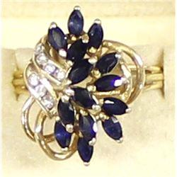 14K Gold, Diamond, & Sapphire Cocktail Ring