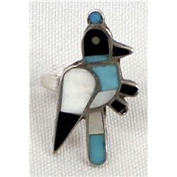 Native American Zuni Sterling Inlay Quail Ring
