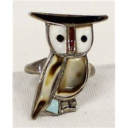 Vintage Zuni Sterling Inlay Owl Ring, Size 8