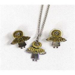 Sterling Silver Angel Pendant Necklace & Earrings