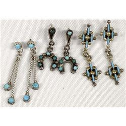 3 Pairs of Native American Zuni Earrings