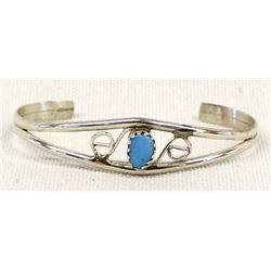 Navajo Sterling Turquoise Child's Bracelet