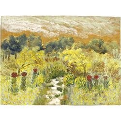 Antique Folk Art Landscape Painting by Earl Hasting Beymer