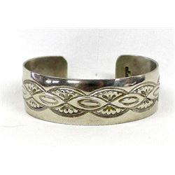 Navajo Sterling Hand Stamped Cuff Bracelet