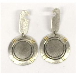 Contemporary Navajo Sterling & 14K Gold Earrings