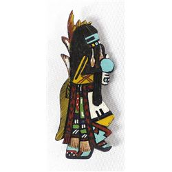 Hopi Hand Painted and Carved Wood Pin by Sehongva