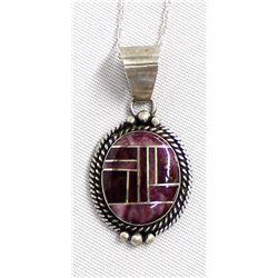 Navajo Silver Purple Shell Pendant Necklace