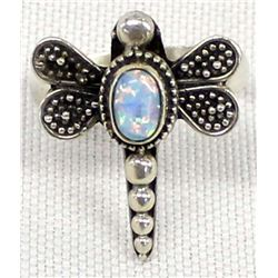 Sterling and Opal Dragonfly Ring, Size 5.5