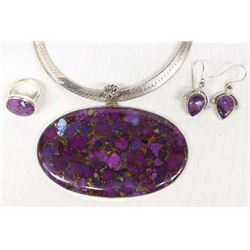 Very Large Purple Turquoise Pendant Necklace Set