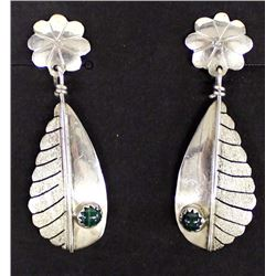 Navajo Sterling Malachite Clip-On Earrings