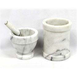Marble Cannister and Mortar and Pestle