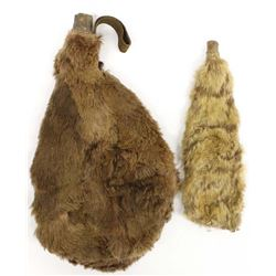 Pair Antique Native American Fur Lined Canteens