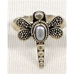 Sterling and Freshwater Pearl Dragonfly Ring, 7.5