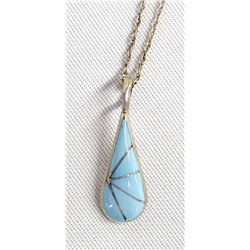 Zuni Turquoise Channel Inlay Pendant Necklace