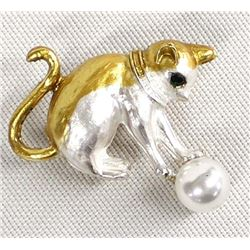 Rhinestone Enamel Cat Pin