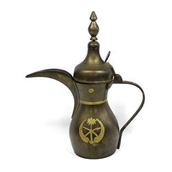 East Indian Carved Brass Dallah Teapot
