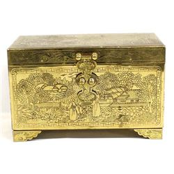 Ornately Carved Brass Chinese Jewelry Box