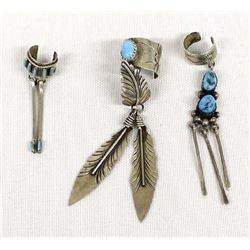 3 Navajo Sterling Silver Turquoise Ear Cuffs