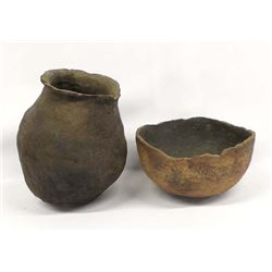 2 Pieces of Prehistoric Utilitarian Pottery