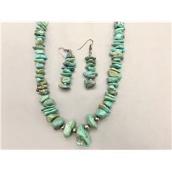 Chunky Turquoise Necklace and Earrings
