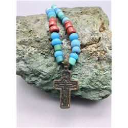 Old Trade Bead and Cross Necklace