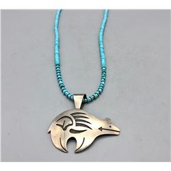 Bear Necklace, Sterling Silver and Turquoise