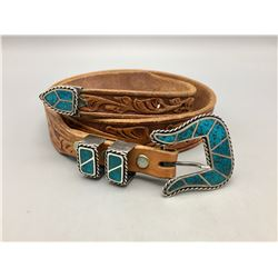 Four Piece Inlay Belt Buckle Set