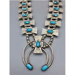 Sterling Silver and Turquoise Box Bow Style Necklace