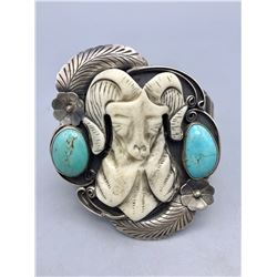 Vintage Carved Rams Head Bracelet