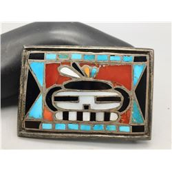 Vintage Zuni Inlay Belt Buckle