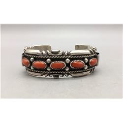 Five Stone Coral Bracelet by Wilson Begay