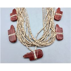 17-Strand Necklace with Pipestone Fetishes