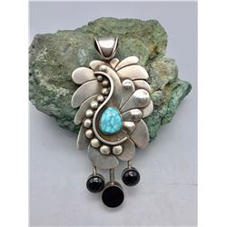 Sterling, Turquoise and Onyx Pendant by Richard Casey