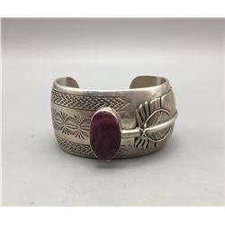 Sterling Silver and Purple Spiny Oyster Bracelet