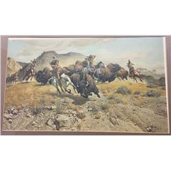Signed, Frank McCarthy Buffalo Hunters Print