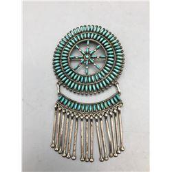 Vintage Needlepoint Turquoise Pin/Pendant - Zuni
