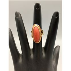 Gold, Coral and Inlay Ring