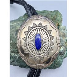 Hefty Sterling Silver and Lapis Bolo - T. Jim