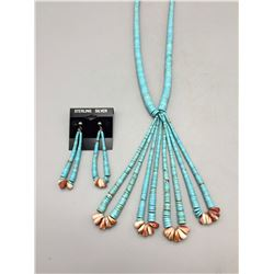 Turquoise Disk Beads, Jocla Necklace and Earrings