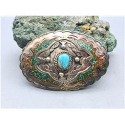 Vintage Stone Set and Inlay Belt Buckle