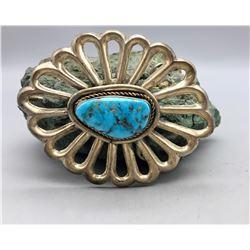 Vintage, Large Turquoise Stone, Sandcast Belt Buckle