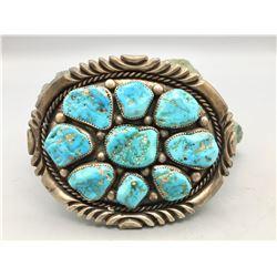 Large, 9-Stone Turquoise Belt Buckle