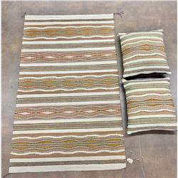 Navajo Textile and Matching Pillows