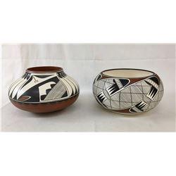 2 Mary Saxon, Navajo, Pottery Bowls