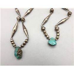 2 Vintage Sterling Silver and Turquoise Necklaces
