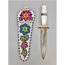 Mother of Pearl Handle Knife with Beaded Sheath
