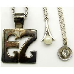 3- MARKED STERLING SILVER NECKLACES WITH