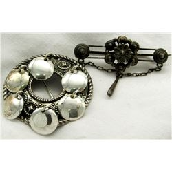 2- STERLING SILVER FASHION PINS