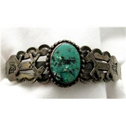 STERLING SILVER TURQUOISE CUFF BRACELETTE