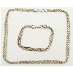 MATCHING STERLING SILVER NECKLACE AND BRACELET
